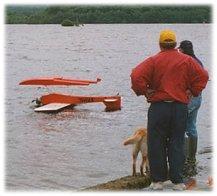 A bad rc float plane landing