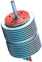 Modern brushless motor with cooling fins