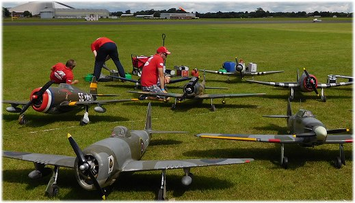 RC airplanes being prepped for display