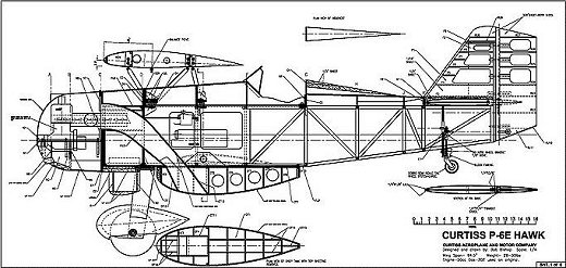 RC Curtiss P-6E Hawk plan sample 1