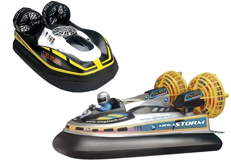 Two examples of RC hovercraft
