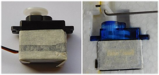 RC servos can also be glued in place