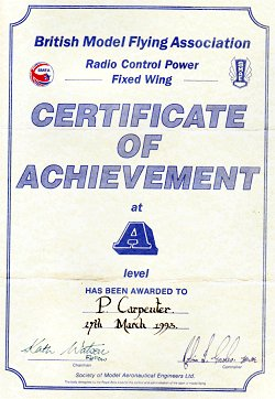 Pete's BMFA A Certificate of Achievement