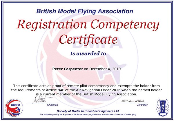 My CAA Registration Competency Certificate