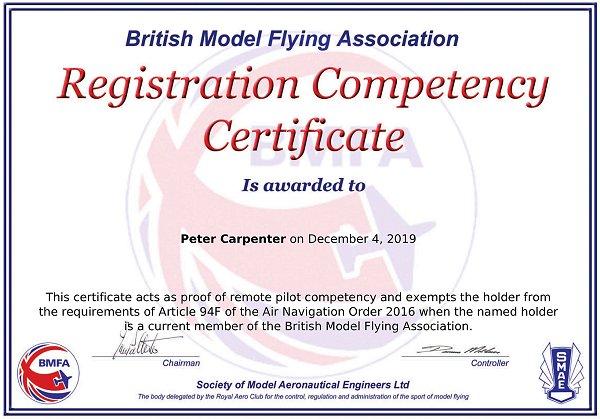 My CAA Registration Competency Certificate