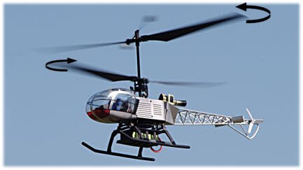 Contra-rotating blades on a coaxial rc helicopter