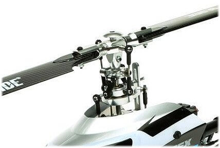 A modern flybarless rc helicopter rotor head