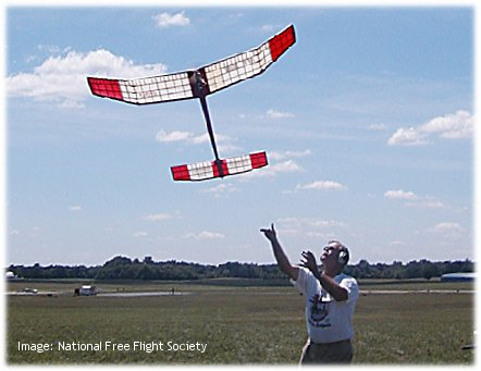 Launching a free flight model airplane