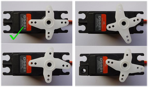 RC servo arm in different positions on splines